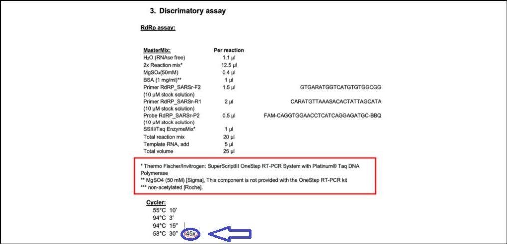 INDICACIÓN DE 'CT' 45 PARA PCR